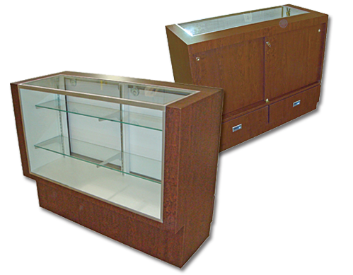 Glass front display cabinets